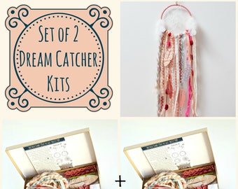 Set of 2 Dream Catcher Kits.  Do it Yourself Craft Kit Gift for Girls