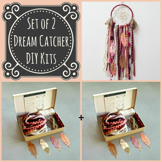 Set of 2 red diy dream catcher kits do it yourself craft kit etsy image 0 solutioingenieria Gallery