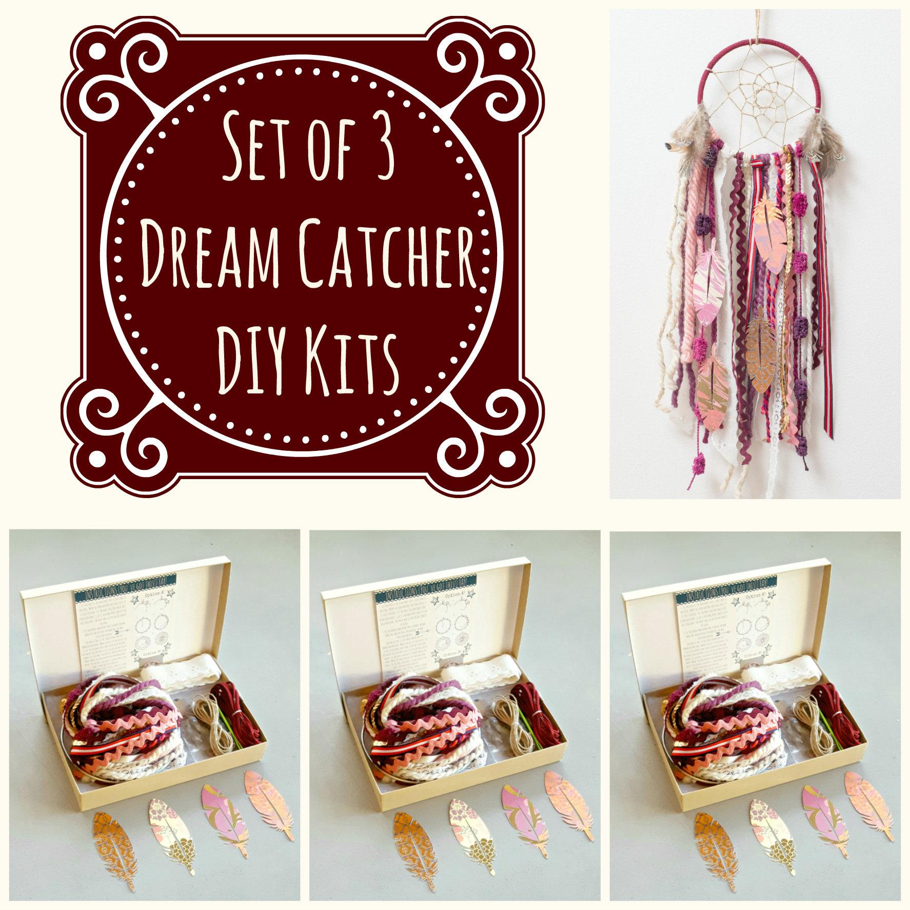Set of 3 Burgundy DIY Dream Catcher Kits. Do it Yourself | Etsy