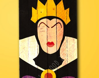 Snow White Evil Queen painting on reclaimed wood sign / Disney / villain