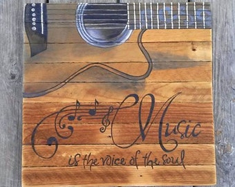 Music is the voice of the soul painting on reclaimed wood