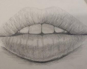 Lips original pencil drawing form my sketchbook.  8.5x5.5 inch