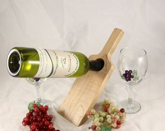 Bottle Balancer in a Wine Bottle Shape made of Maple