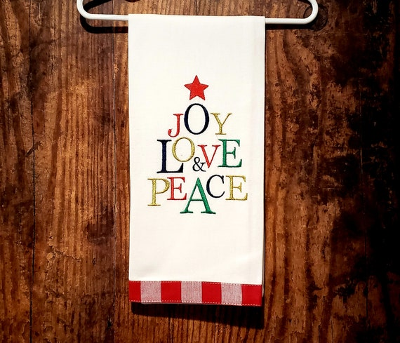 Joy Love Peace Sparkly Christmas Tree Tea Towel Dish Etsy