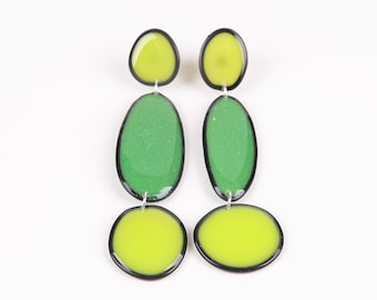 Drop earrings, green hues, unique piece of resin jewellery