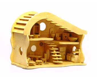 Handmade Wooden Dollhouse with Furniture