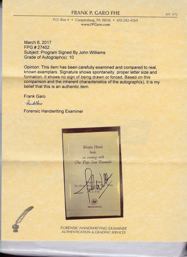 Composer Director Conductor of the Boston Pops signed  Autograph Autographed Signed Performance Program from 1985 John Williams autograph