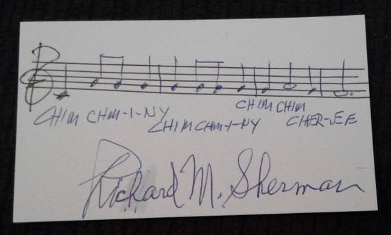 Richard M Sherman Walt Disney signed autograph autographed index card Mary Poppins  The Jungle Book Winnie the Pooh Chitty Chitty Bang Bang