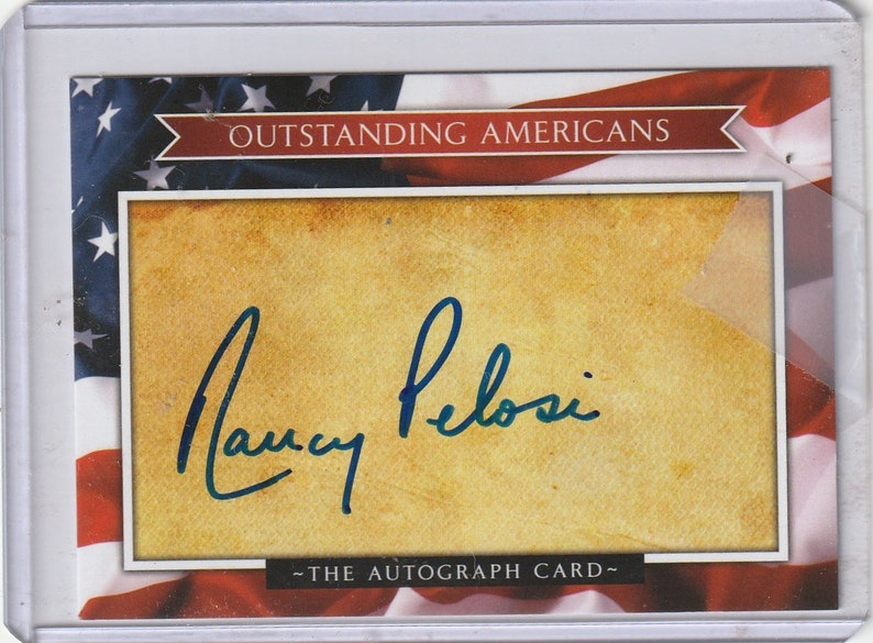 Nancy Pelosi autograph Autographed Trading Card Signed with  Letter of Authenticity Speaker of the House 2 free photos