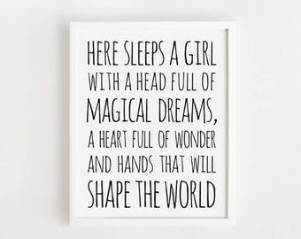 Here Sleeps A Girl With A Head Full Of Magical Dreams Sign Etsy