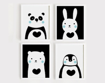 Printable Nursery Art Set of 4 Cute Animals art print Download Poster Panda Bunny Bear Penguin for Baby Kids Child gift Black and white