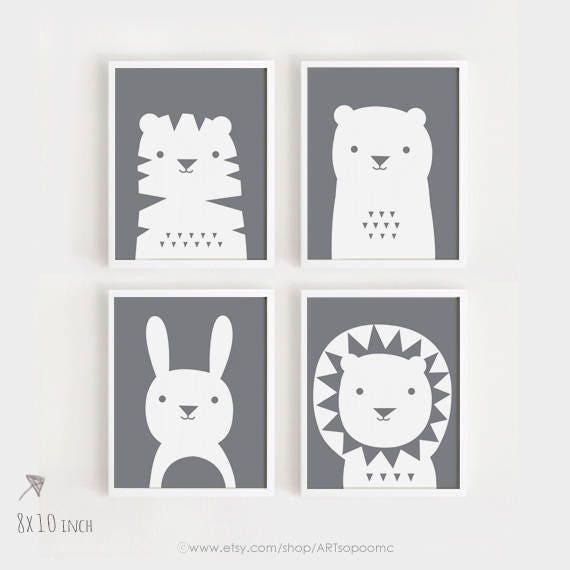 A3 arte imprimibles descargar vivero arte Set de 4 lindo | Etsy