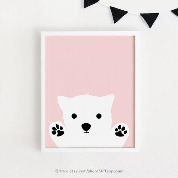 Printable Pink Dog Art Poster Bebe Instant Download Girls Room Decor Cute Dog Wall Art Cute Animal Dog Nursery Art Print 8x10 11x14 50x70