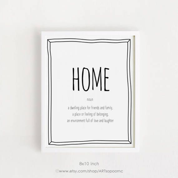 Home Definition Quotes Art Printable Home Wall Art Black And Etsy