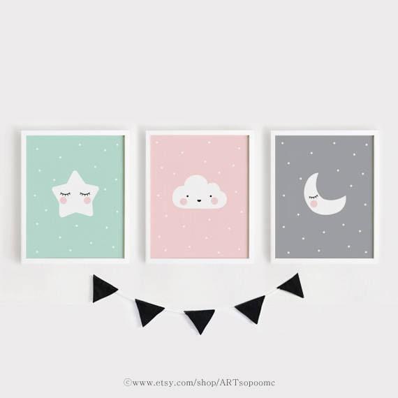 Estrellas Luna nube vivero decoración imprimible vivero arte | Etsy