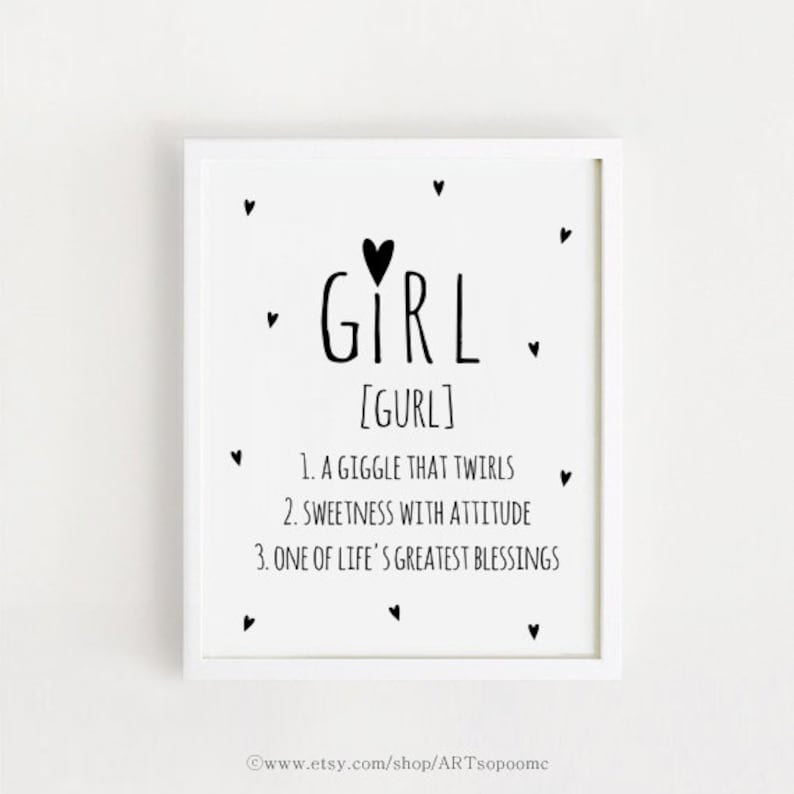 Baby girls Quotes Sayings Wall Art Printable Poster Black and | Etsy