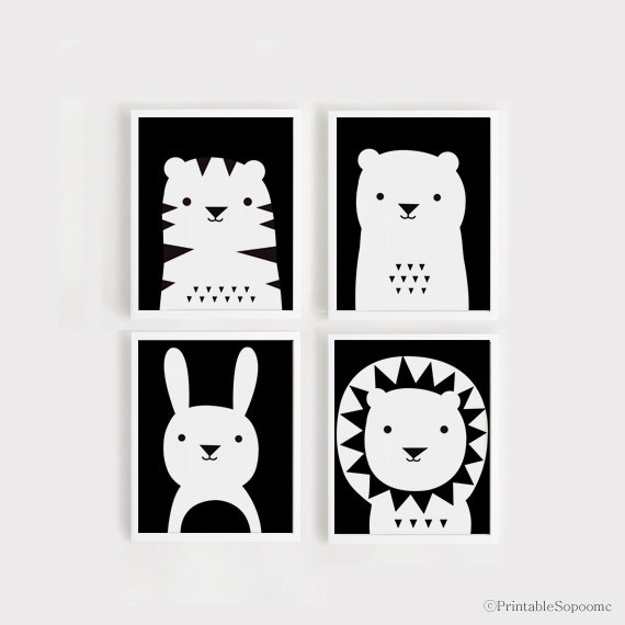 descargar impresión de arte vivero arte Set de 4 animales | Etsy