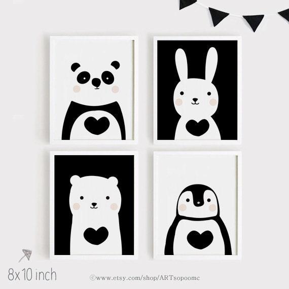Imprimibles infantiles arte Set de 4 animales lindo art | Etsy