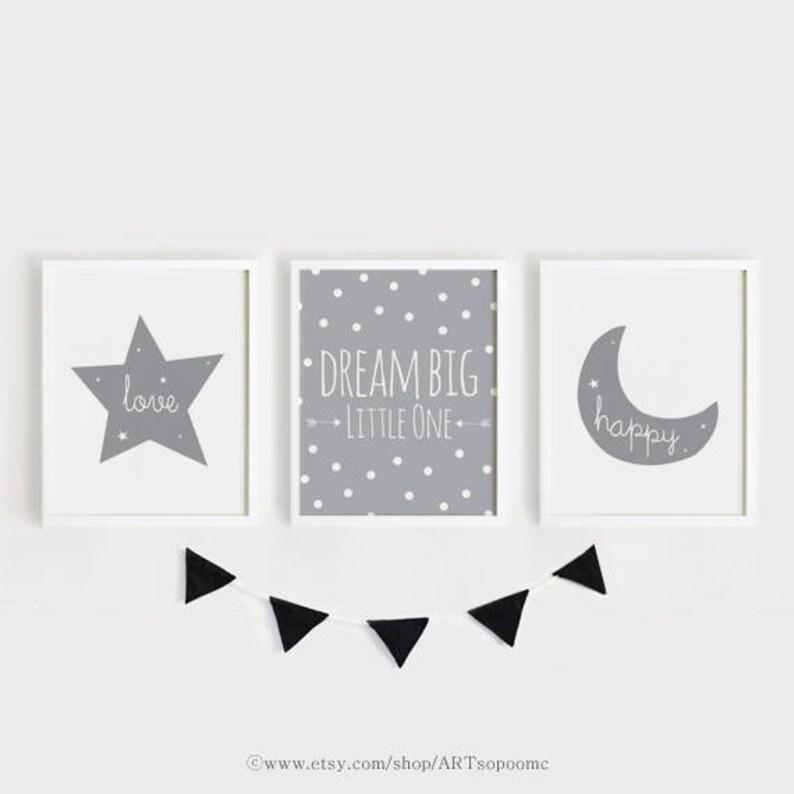 Art Print Set Of 3 Green Moon Star Cloud Picture Children Nursery Baby Buy One Get One Free Nursery Décor Baby