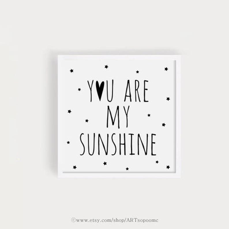 Jesteś My Sunshine Czarny Drukuj Plakat Cytaty Kwadrat Niemowląt Poświaty Poczatek Sztuka Tapeta Sztuka Wystrój ładny ściana