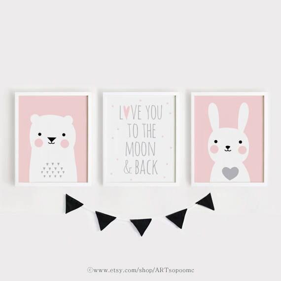 Printable Nursery Art Set Of 3 Poster Baby Girls Room Wall Art Etsy