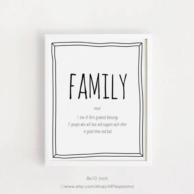 Family Definition Art Print Family Quotes Wall Art Printable Etsy