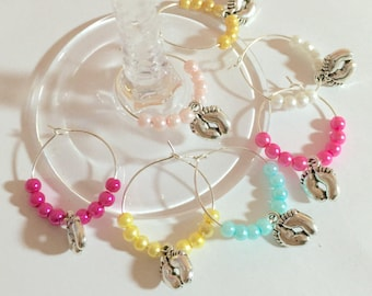 100 x Baby shower favour Wine glass charm Thank you gift of new present Christenings new baby party Baby boy Baby shower girl Bulk