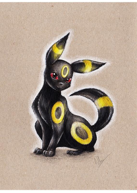 Pokemon Noctali Crayon Portrait Impression