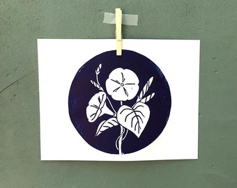 Morning Glory Linocut Print