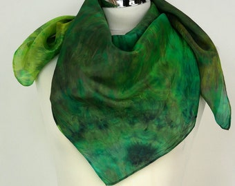 Green silk scarf square Enchanted Forest Square silk scarf uk Forest green scarf Birthday gift friend Silk gift mum Silk scarf gift wife