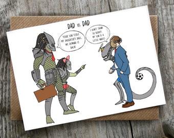 Funny Pun Alien Predator Fathers Day Birthday Card   Sci Fi   Science Fiction LCHMORGAN