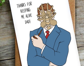 Funny Pun Alien Fathers Day or Birthday Card   Sci Fi   Science Fiction LCHMORGAN