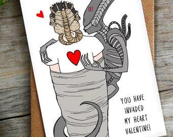 Alien Pun Valentines Day Card   Sci Fi   Science Fiction LCHMORGAN