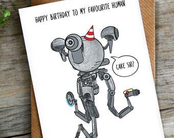 Funny Pun Robot Birthday Card   Sci Fi   Science Fiction   LCHMORGAN