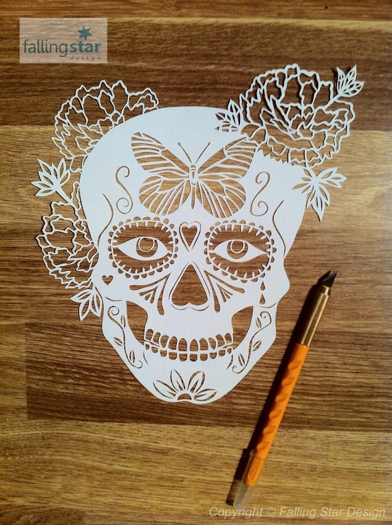 Sale Halloween Special Butterfly Sugar Skull Papercutting