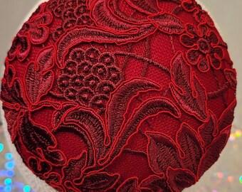 Exquisite Red Brocade Kippah