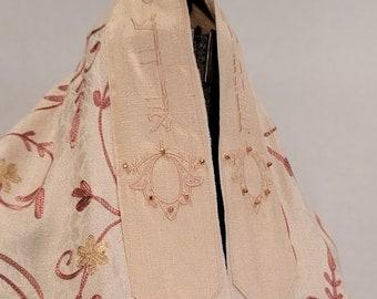 Copper & Cream Embroidered Tallit