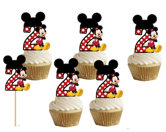2nd Birthday Mickey Mouse Cupcake Cakepop Toppers