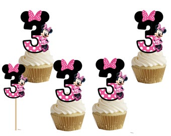 Minnie mouse number 3 cakepop/cupcake toppers