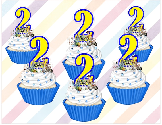 Toy Story 2nd Birthday Party Supplies Toy Story 2nd Cupcake Toppers for Boy Girl 2nd Birthday Party Decorations 40Pcs Two Infinity And Beyond Cupcake Toppers