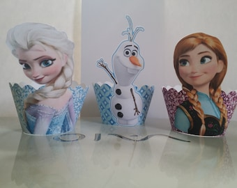 Frozen cupcake wrappers (Elsa, Anna, & Olaf)