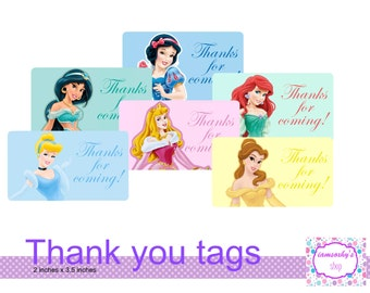 Disney Princess Thank you tags/note