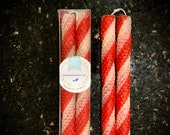 Candy Cane Beeswax Taper Candles Scented with Peppermint Essential Oil