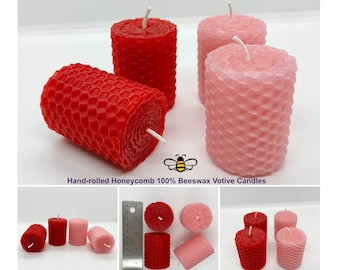 Valentines Day 2in Beeswax Votive Candles - Hand-rolled Honeycomb Beeswax - Handmade Red and Pink Votives