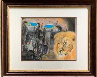 Pastel Art | Crown of the Lion | Original Art by Artist | Framed Art | Pastel Drawing