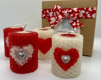 Love Theme 2in Handrolled Beeswax Votive Candles | Heart Shape Valentine's Day Design Candles | Red and White Color Roses Scented Votives