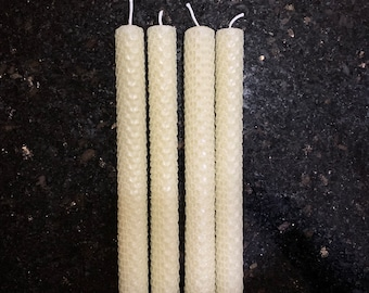Classic Ivory Taper Beeswax Candles 4-pc | Dinner Taper Candles | Hand-rolled Honeycomb Beeswax Tapers