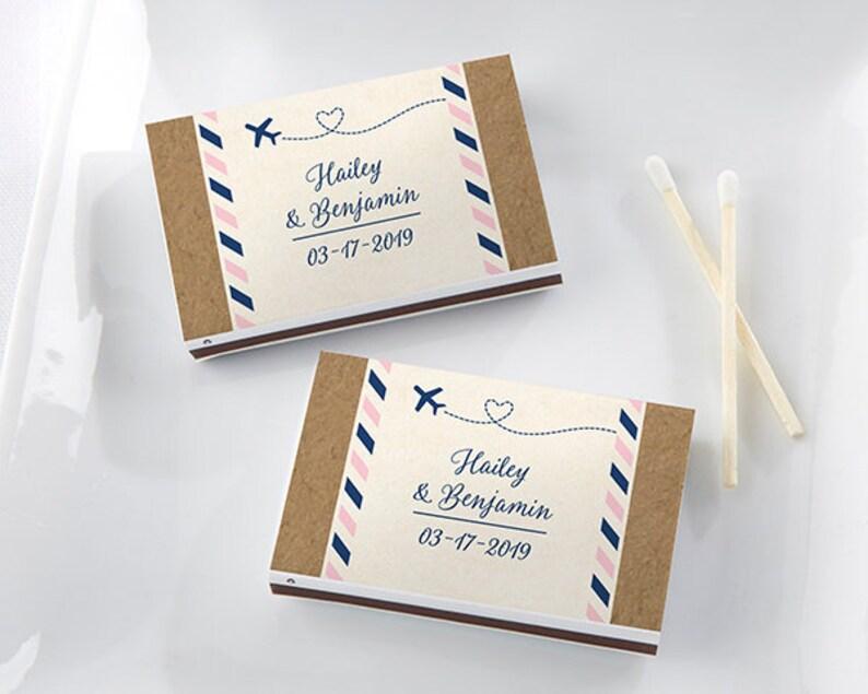 Personalized White Matchboxes Travel And Adventure Set of 50 Vintage Chic Destination Wedding Matches Match Box Bridal Shower Favor Keepsake