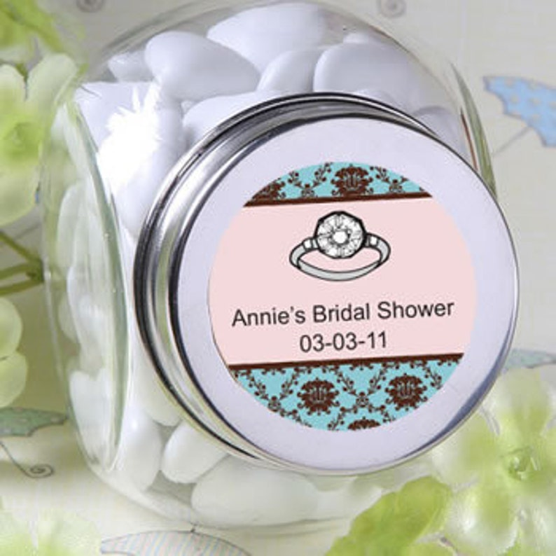 Personalized Glass Jar Bridal Shower Containers Sweets Goodies Rustic Goodie Wedding Favors Bridal Shower Bridesmaid Gift Party Gifts Events