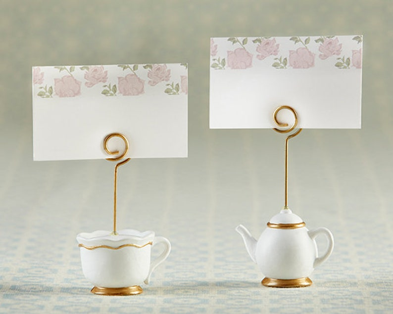 Tea Time Whimsy Place Card Holder Set of 6 Tea Party Signs Wedding Placecards Table Numbers Thanksgiving Reception Bridal Shower Decor